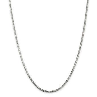 Sterling Silver Polished Lobster Claw Closure 2.5mm Round Snake Chain Bracelet - Lobster Claw - Length: 7 to 8