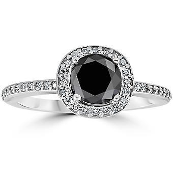 1 1/10ct Treated Black Diamond Cushion Halo Engagement Ring 14K White Gold