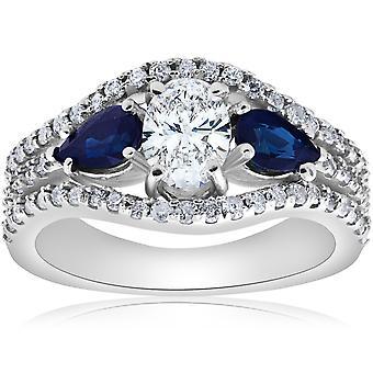 2 1 / 2ct Oval Diamond Pear blå safir Halo förlovningsring 14K vitguld
