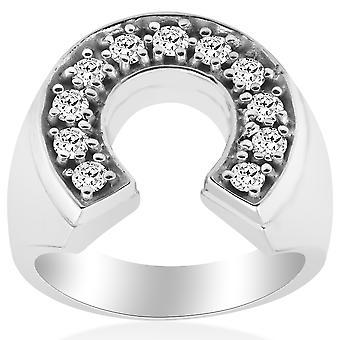 3 / 4ct Mens diamant hästsko tur Pinkie Ring 14K vitt guld