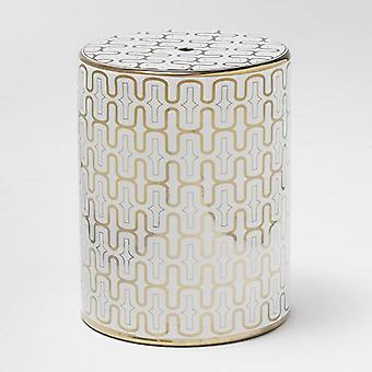 Wellindal Ceramic Stool White / Gold