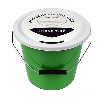 6 Charity Money Collection Buckets 5 Litres - Green