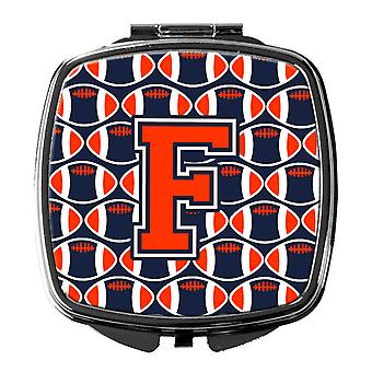 Letter F Football Orange, Blue and white Compact Mirror