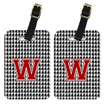 Pair of 2 Monogram - Houndstooth Black Initial W Monogram Initial Luggage Tag