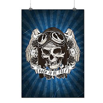 Matte or Glossy Poster with Born To Skull Free Biker | Wellcoda | *d2393