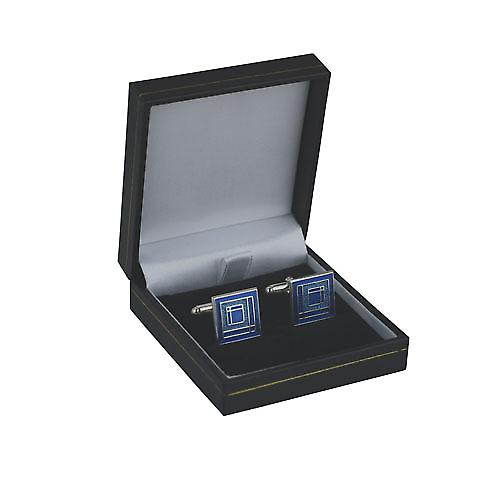 Silver 16mm square enamel swivel Cufflinks