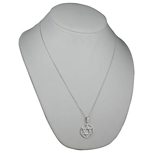 Silver 25mm plain Star of David in circle Pendant with a curb Chain 24 inches