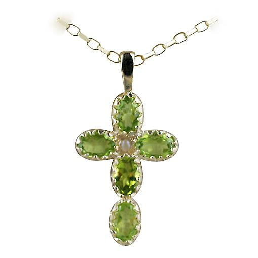 9ct Gold 25x16mm Cross set with 5 Peridot and 1 Pearl on a belcher chain