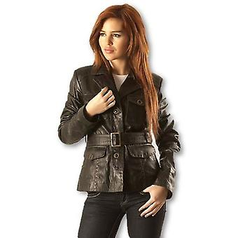 Womens Sexy Washed Leather Coat