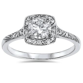 1 1 / 4ct rund diamant Vintage Halo förlovningsring 14K vitguld