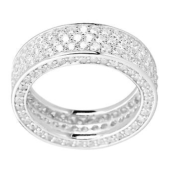 Sterling 925er Silber Pave Ring - THREE CZ LINES
