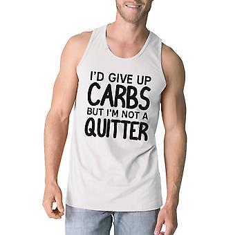 Carbs Quitter Mens White Lightweight Work Out Tank Top Fitness Gift