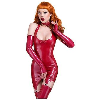 Westward Bound Darianne Suspender Latex Rubber Dress, Red.