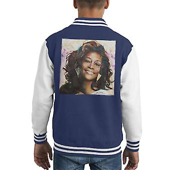 Sidney Maurer Original Portrait Of Whitney Houston Triangle Earrings Kid's Varsity Jacket