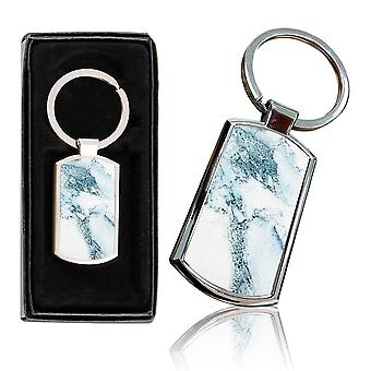 i-Tronixs - Premium Marble Design Chrome Metal Keyring with Free Gift Box (3-Pack) - 0021