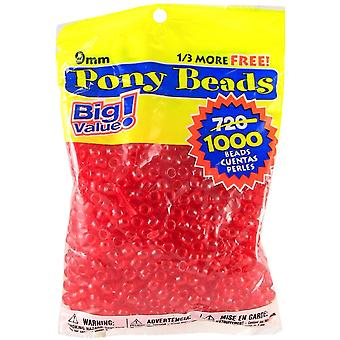 Pony Beads 6mmX9mm 1,000/Pkg-Transparent Red