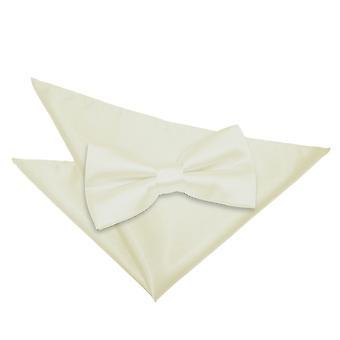 Plain Ivory Satin Bow Tie & zak plein Set
