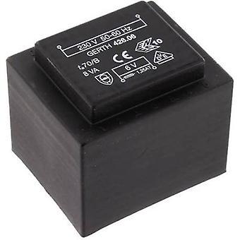 PCB mount transformer 1 x 230 V 2 x 6 V AC 8 VA 666 mA