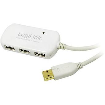 LogiLink USB 2.0 Cable extension [1x USB 2.0 connector A - 4x USB 2.0 port A] 12 m White gold plated connectors, UL-appr