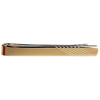 David Van Hagen Diagonal Lined End Tie Slide - Gold