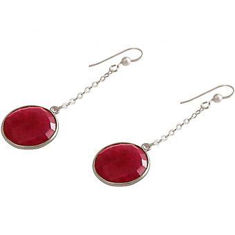 Damer - øreringe - Øreringe - 925 sølv - Ruby - rød - 2 cm