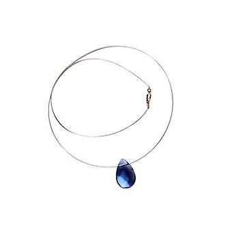 Ketting zilver Blue Topaz GIOIA blauwe Topas halsketting drop 925 zilver