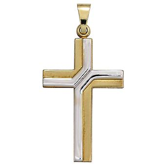 Pendants cross part rhodium-plated pendant cross gold yellow gold partly frosted