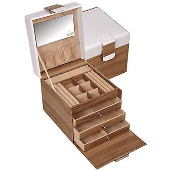 Sacher jewelry suitcase STYLE jewelry box NORDIC white and wood look lockable