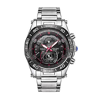 Mens Watch Black Silver Red Boys Smart Analogue Watches Business