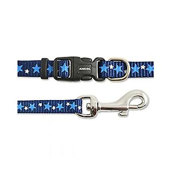Ancol Small Bite Star Blue Puppy and Small Dog Collar and Lead Set
