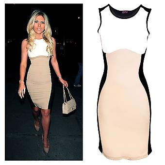 Womens Celeb Towie Essex Effekt abnimmt Nude Contrast Bodycon Ladies Dress