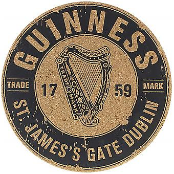 Guinness Harp Logo cork backed round table place mat coaster