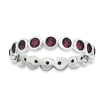 3.5mm Sterling Silver Bezel Polished Rhodium-plated Stackable Expressions June Crystal Ring - Ring Size: 5 to 10
