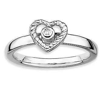 Sterling Silver Bezel Polished Rhodium-plated Stackable Expressions Heart Diamond Ring - Ring Size: 5 to 10