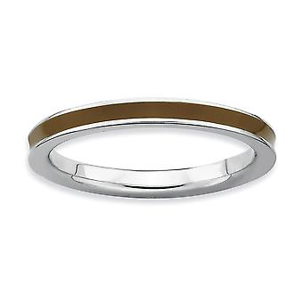 Sterling Silver Polished Rhodium-plated Stackable Expressions Brown Enameled 2.25mm Ring - Ring Size: 5 to 10