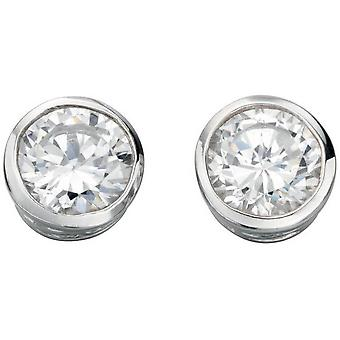 Beginnings Cubic Zirconia Plain Round Stud Earrings - Silver/Clear