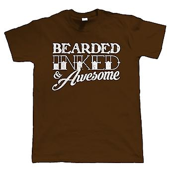 Barbu encré & Awesome Mens Funny barbe T Shirt - Hipster Tattoo - cadeau pour papa