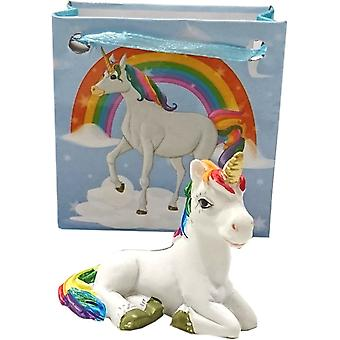 Betoverde Rainbow Unicorn in Mini Gift Bag (blauw)