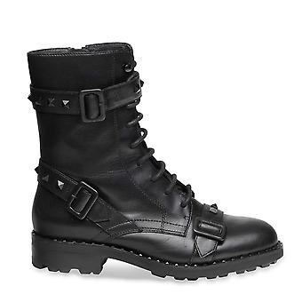 Ash WITCH Buckle Biker Boots Black Leather