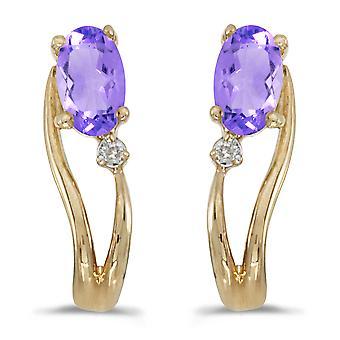 14k Yellow Gold Oval Tanzanite And Diamond Wave Earrings