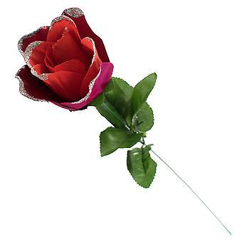 Rose artificielle TRIXES - simple tige-cadeau enveloppé – rouge avec paillettes - Tipped pétales-50 cm