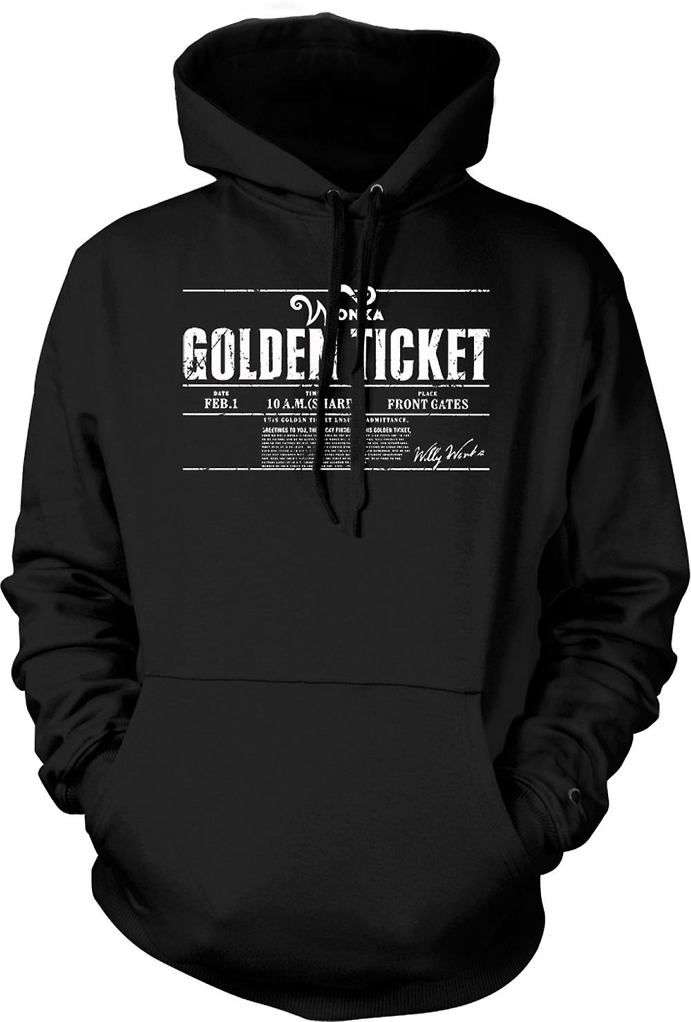 Mens Hoodie - Willy Wonkas Ticket - film - BW - Funny