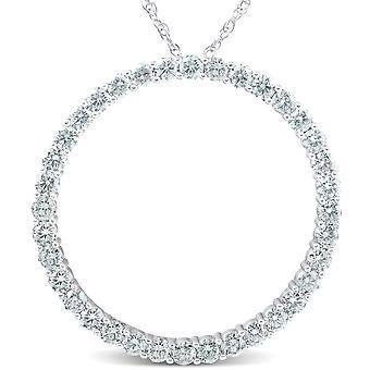 """3ct stor rund äkta Diamond Circle hänge & kedja 14K vitguld 1 """"hög"""
