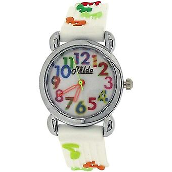 Relda Analogue Childrens Girls 3D Musical Notes White Silicone Strap Watch REL84