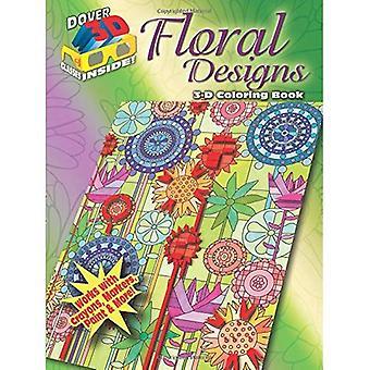 3D-målarbok - blommönster