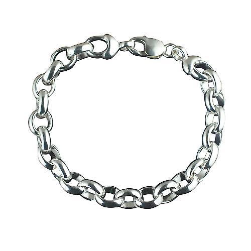 Silver solid Handmade 8 inch belcher Chain Bracelet