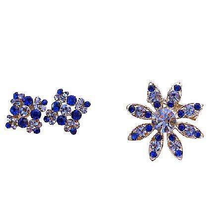 Sapphire Crystals Round Brooch & Earrings Perfect For Formal Dress