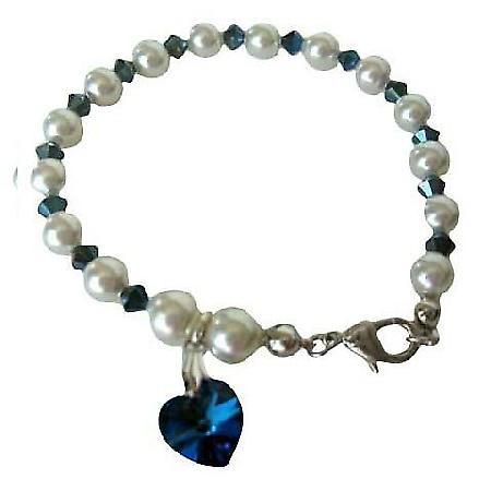 Swarovski Metallic Sapphire Crystal Heart Bracelet Genuine Swarovski White Pearl Crystal w/ Sapphire Crystal