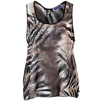 Ladies Sleeveless Chiffon Leopard Tiger Butterfly DogTooth Women's Blouse Top