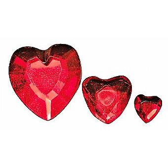 Assorted Red Heart Shaped Acrylic Rhinestones - 310pk